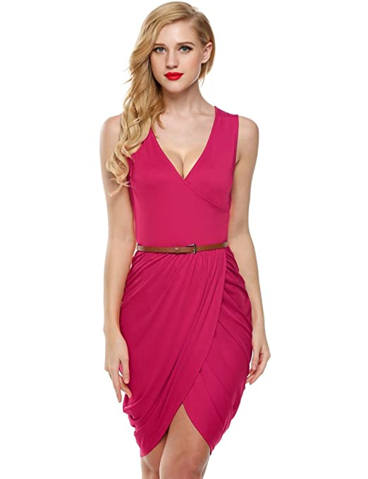 Meaneor Women's Solid Color Wrapped V-Neck Ruched Tulip