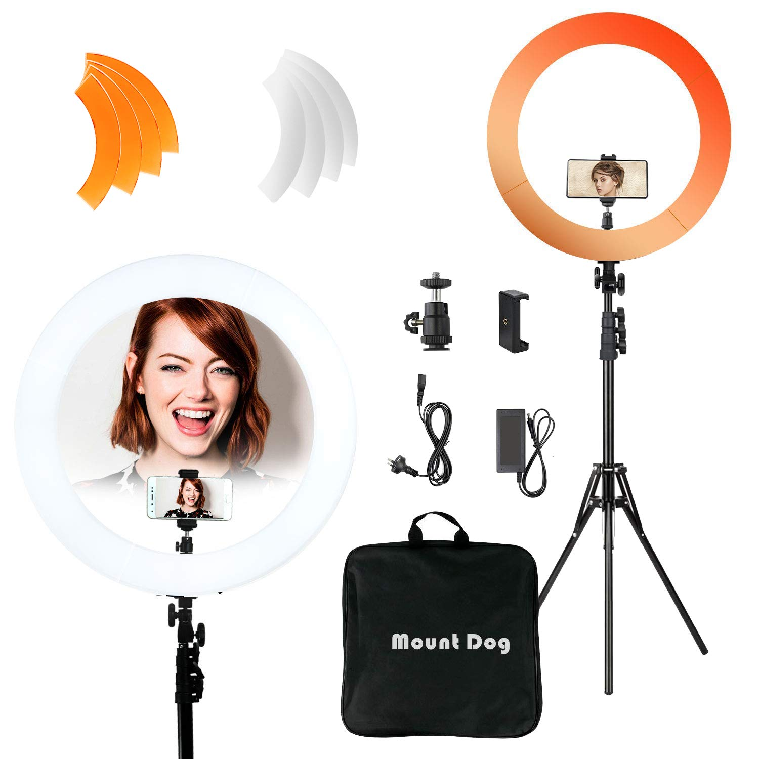 MOUNTDOG 18''/48cm YouTube Ring Light 55W 5500K Dimmable LED Ringlight Kit with Tripod Stand Circle Lighting for Video Filming Portrait Makeup