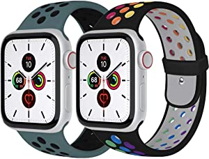 Zsuoop Sport Watch Band Compatible with Apple Watch Bands 38mm 40mm 42mm 44mm,Soft Silicone Wristband for Apple Watch Series 6/SE/5/4/3/2/1,2pack,Pride-Black/Celestial Teal-42S