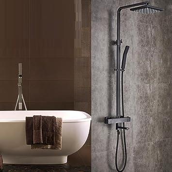 Badezimmer Wand Montiert Schwarze Dusche Set Quadratische Top