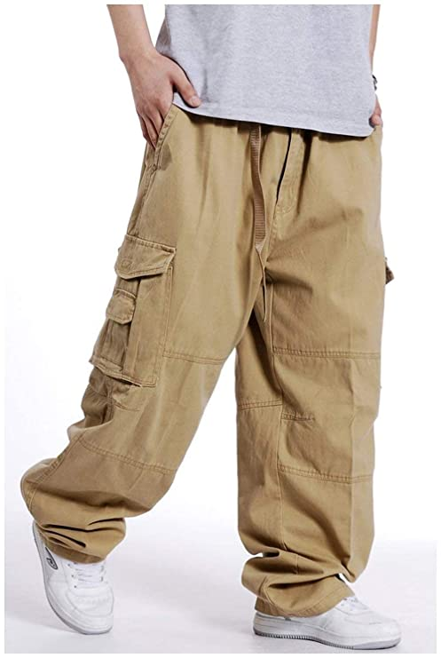 0a00a69999931 ADELINA Pantalones De Hip Hop De Los Hombres Pantalones Ropa Hipster Estilo  Carga Holgados Pantalones Rectos De Pierna Recta Suelta De Color Sólido De  ...