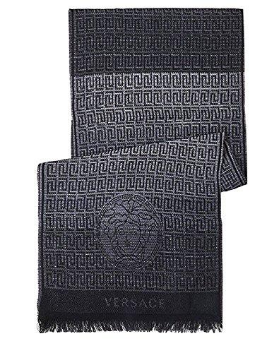 Versace Collection Black Medusa Geometric Scarf