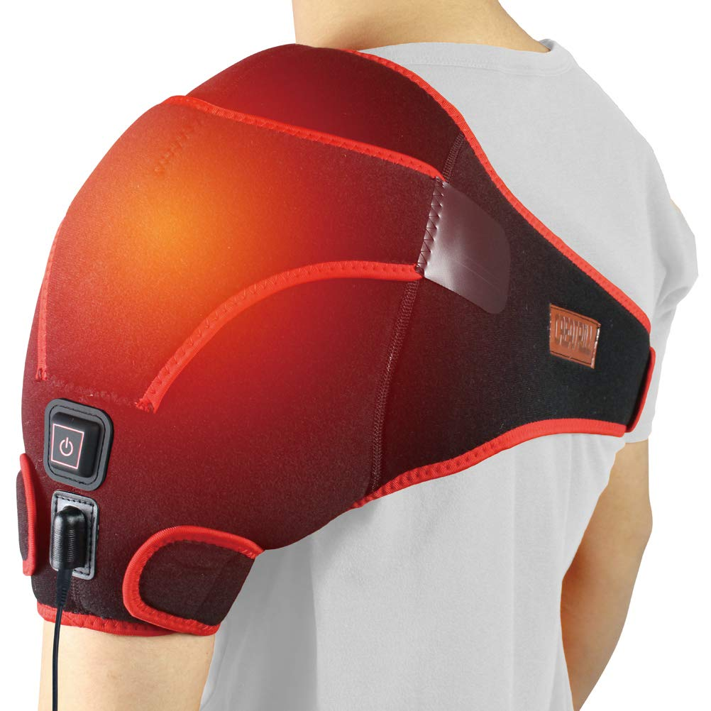 CREATRILL Far Infrared Shoulder Heating pad, 3 Temperature Setting Heated Brace Wrap for Rotator Cuff, Joint Capsule, Arthritis, Tendonitis, Frozen Stiff A.C Joints, Pain Relief Hot Therapy by CREATRILL