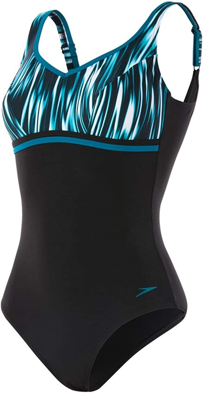 12 UK 34 Silentdream Black//White//Nordic Teal Speedo Womens Contourluxe Printed Swimsuit