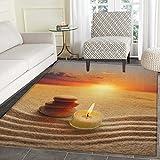 Boho Print Area rug Stack of Stones and Candle Chakra Meditation Zen Yoga Horizon Backdrop Picture Indoor/Outdoor Area Rug 3'x4' Orange Sand Brown