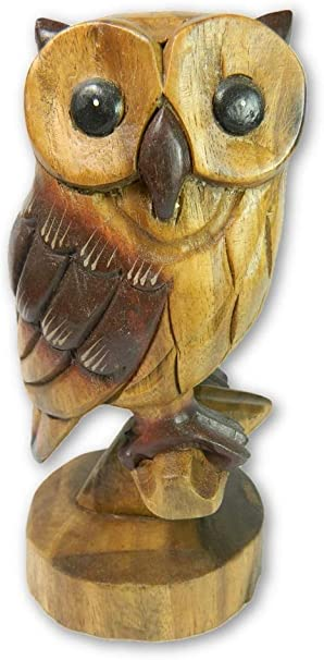 """18cm//7/"""" Wooden Owl Carving Hand Carved Owl on Perch"""
