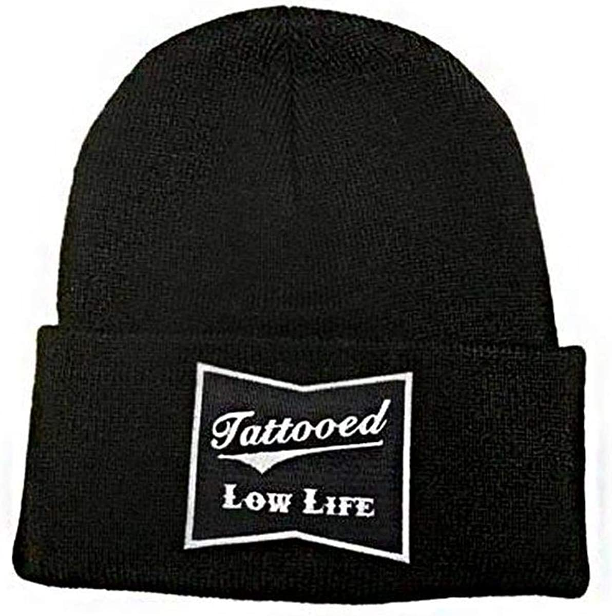 cartel ink OG Tattooed Low Life Cuffed Knit Beanie Black