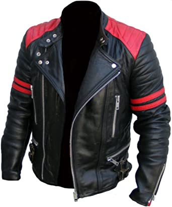 Gearswears Men's Brando Classic Biker Red and Black Vintage