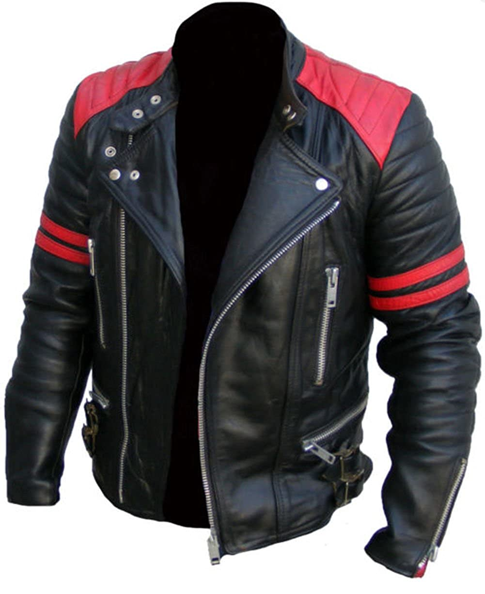 1069b79ae Men's Brando Classic Biker Red and Black Vintage Motorcycle Real ...