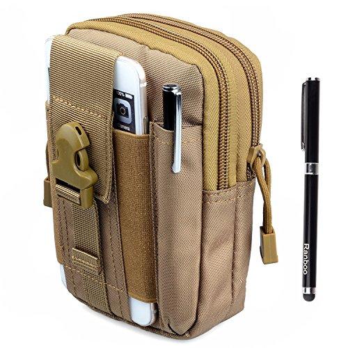 Amy Compact 1000D Military Nylon cellphone Molle Camo Bag Utility Tough Heavy Duty Tactical waist Packs Gadget Pouch for Google Nexus 5 6 MOTO Samsung Galaxy Note 4 Blackberry(khaki)