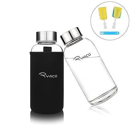 Ryaco Botella de Agua Cristal 360ml, Botella de Agua Reutilizable 12 oz, Sin BPA Antideslizante Protección Neopreno Llevar Manga con Acero Inoxidable ...
