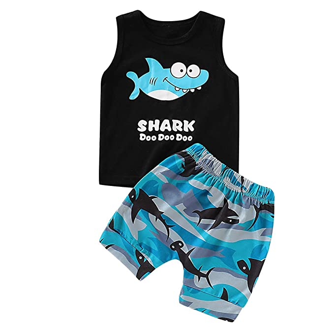 Shark Tank Tops Waves Pants Suit for Toddler Infant Haokaini Baby Boy Vest Shorts Set