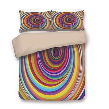 5155c8165330 Duvet Cover Set,BACK Of Khaki,Rainbow,Hypnotic Rainbow Colored Vortex  Hypnotic Effect