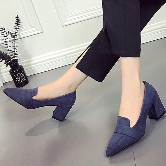Bestow Apuntada Boca Baja Gruesa con Zapatos de Trabajo de Gamuza Salvaje Solo Zapatos Zapatos de Mujer: Amazon.es: Ropa y accesorios