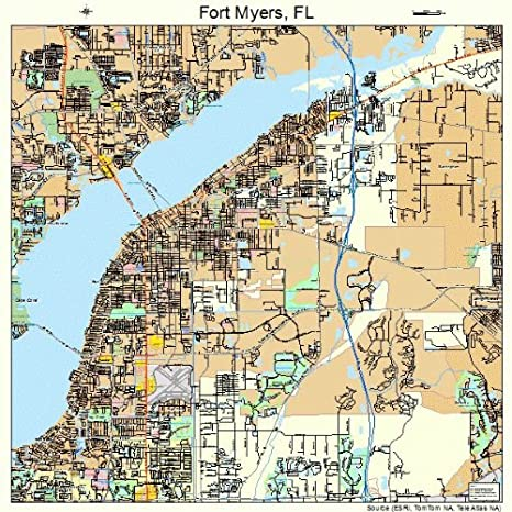 Ft Myers Map Of Florida.Amazon Com Image Trader Large Street Road Map Of Fort Myers