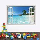 3d fake window Hawaiian style living room bedroom background TV background wall sticker