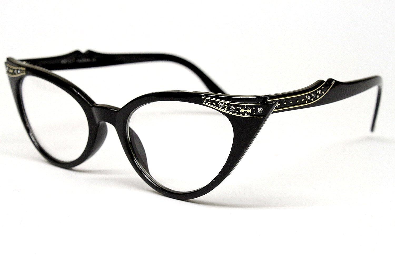 Amazon.com: Vintage Cat Eye Clear Sunglasses Eyeglasses Rhinestone ...
