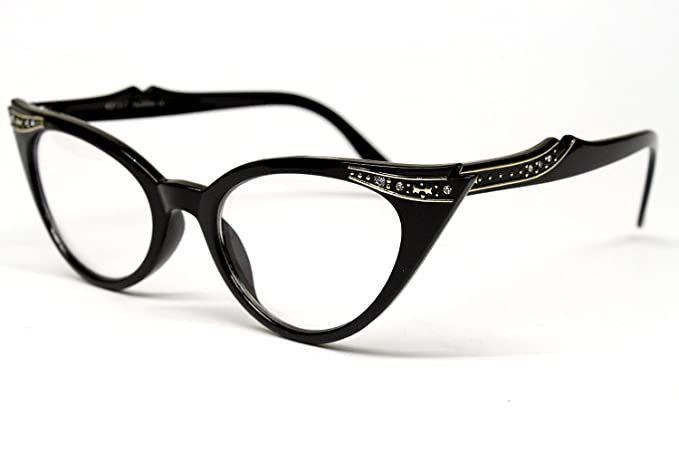 0e16e5ac3b3 Vintage Cat Eye Clear Sunglasses Eyeglasses Rhinestone Womens Black E13   Amazon.co.uk  Clothing