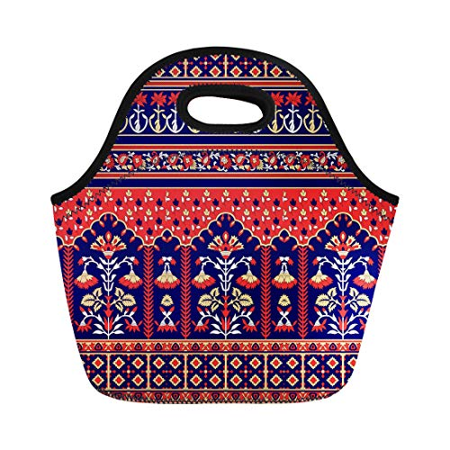 Semtomn Lunch Tote Bag Abstract Traditional Indian Paisley Pattern Arabesque Batik Border Bright Reusable Neoprene Insulated Thermal Outdoor Picnic Lunchbox for Men Women