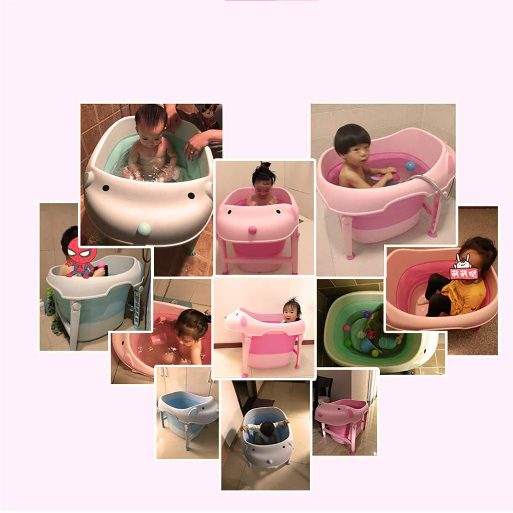 ZLMI Baby Bath with,Foldable Toddler Kids Infant Wash Play Plastic Lightweight and Sturdy Ideal for Easy Storage by Baby Bath Tub,Pink by ZLMI (Image #7)
