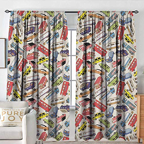 Sillgt Cars Waterproof Window Curtain Transport and Logistics Theme with Lorry Cargo Truck Muscle Car and Taxi Boy Toys Room Darkening, Noise Reducing W 108