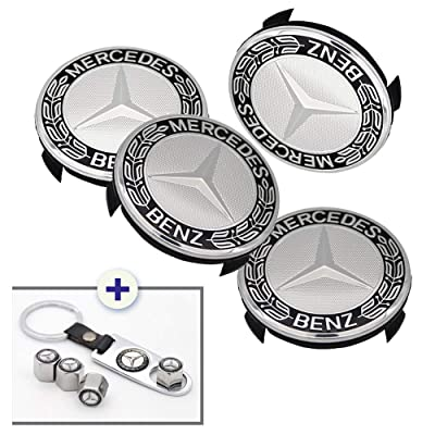 Luckily 4PCS 75mm/2.95'' Wheel Center Hub Logo Caps Covers for Mercedes Benz with Bonus 4PCS Tire Valve Cover and 1 PC Keychain Fit for Benz(Black): Automotive