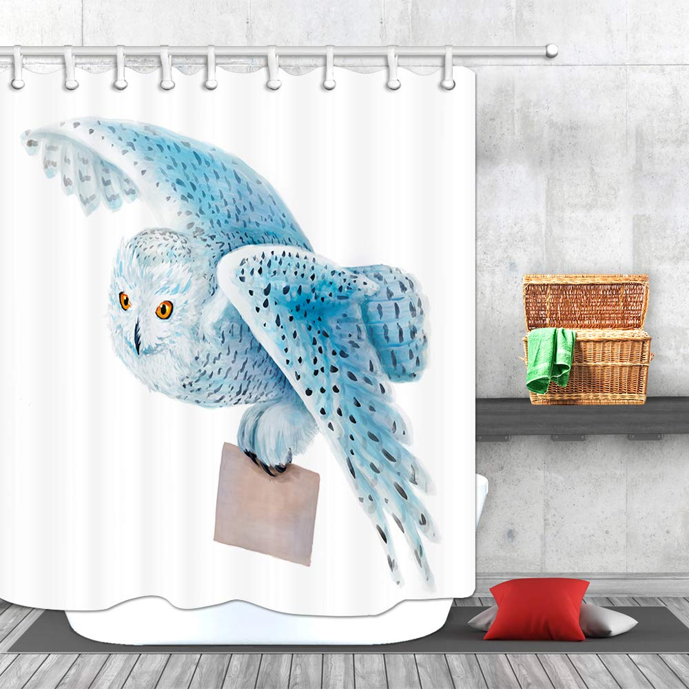 Polyester Fabric Bathroom Shower Curtain with Hooks 69x70Inches JAWO Animal Shower Curtain Snowy Owl Flying on White Background Bath Curtain Bathroon Accessories