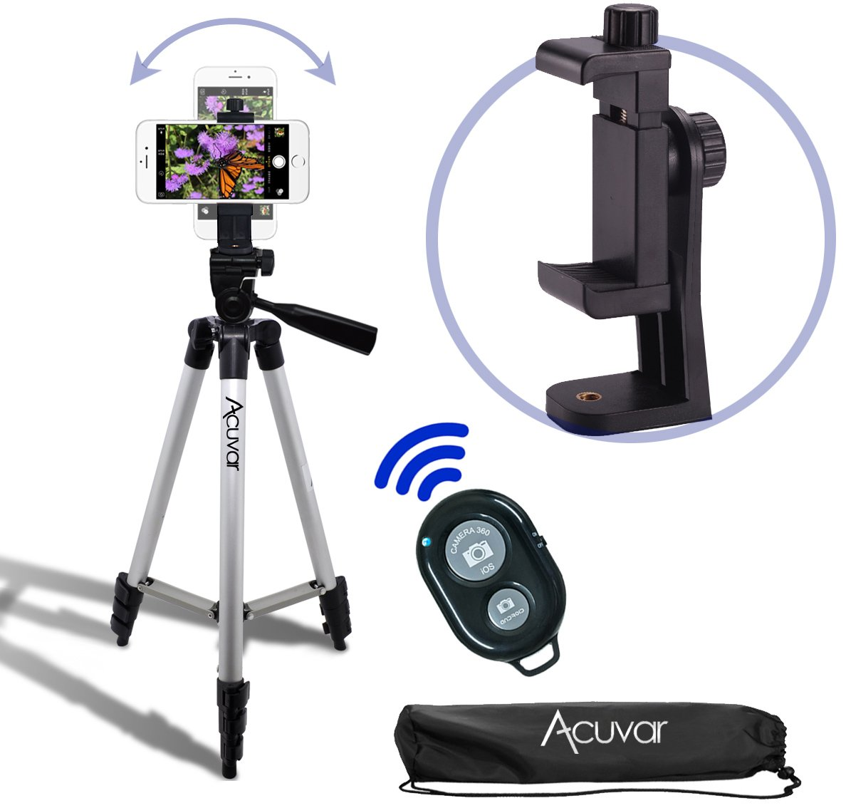 "Acuvar 50"" Smartphone/Camera Tripod with Rotating Mount & Bluetooth Camera Remote. Fits iPhone X, 8, 8+, 7, 7 Plus, 6, 6 Plus, 5s Samsung Galaxy, Android, etc."