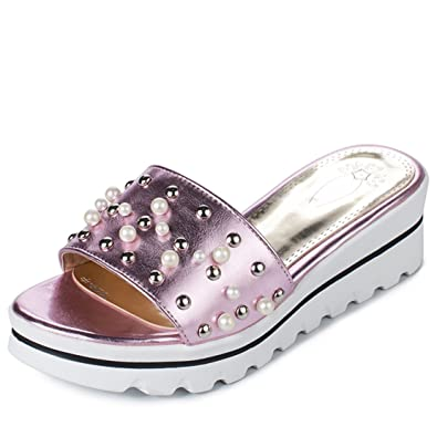 AIYOUMEI Damen Offene Plateau Keilabsatz Pantoletten mit Perlen Bequem Sommer Slipper Sandalen Schuhe