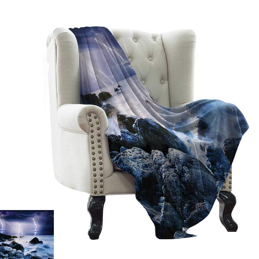 color10 50 x70  Inch Emergency Blanket Nature,Silhouette of Lonely Tree by Lake with Mirror Effects Melancholy Illustration,Indigo Baby bluee Super Soft Faux Fur Plush Decorative Blanket 50 x60