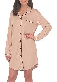 3fcd600424 VDRNY Women s Long Sleeve Sleepwear Pajama Top Button Down Sleep Shirt Dress