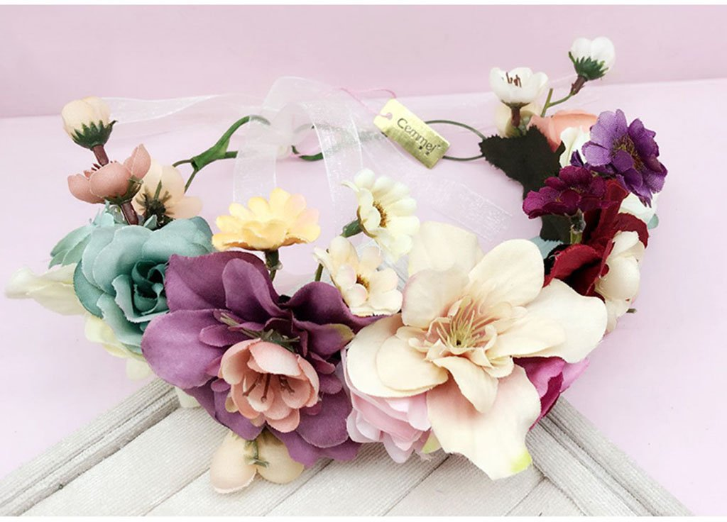 Wreath Flower, Headband Flower Garland Handmade Wedding Bride Party Ribbon Headband Wristband Hairband (Color : C)
