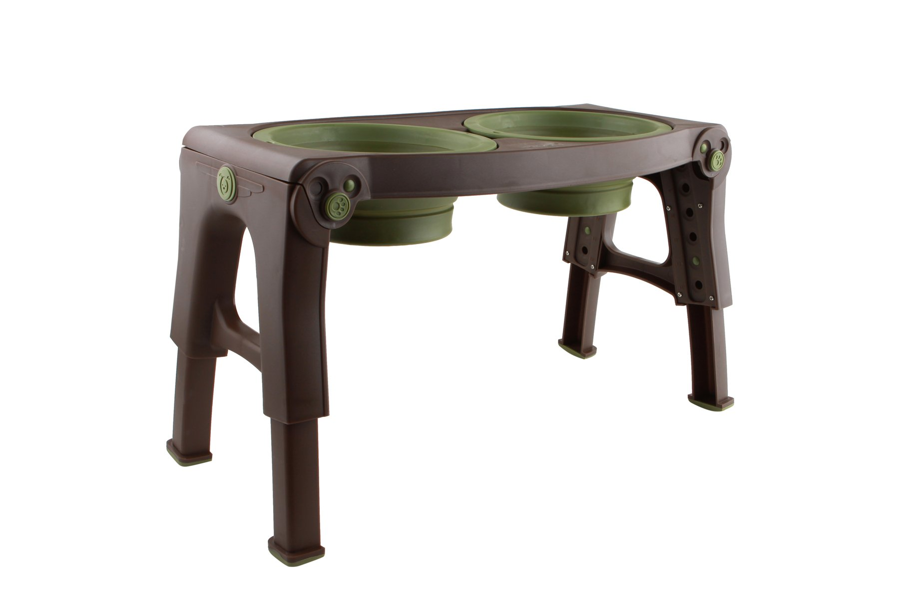 Dexas Popware for Pets Adjustable/Elevated Feeder Bowl, Green