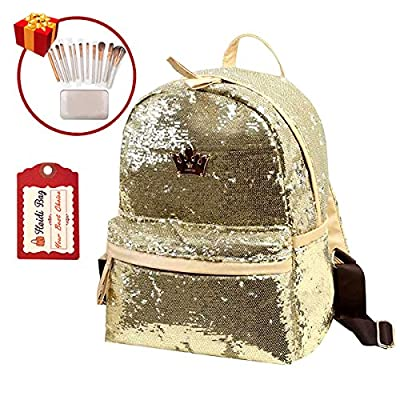 Heidi Bag Girl Shining Sequin Fashion School Backpack Crown Travel Daypack with 12pcs Makeup Brushes Set
