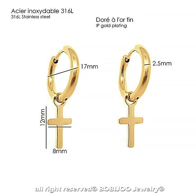 f180e9f3613a BOBIJOO Jewelry - Par de aretes Hombre Criollo Cruz Católica con Oro de  Acero Inoxidable de Oro  Amazon.es  Joyería