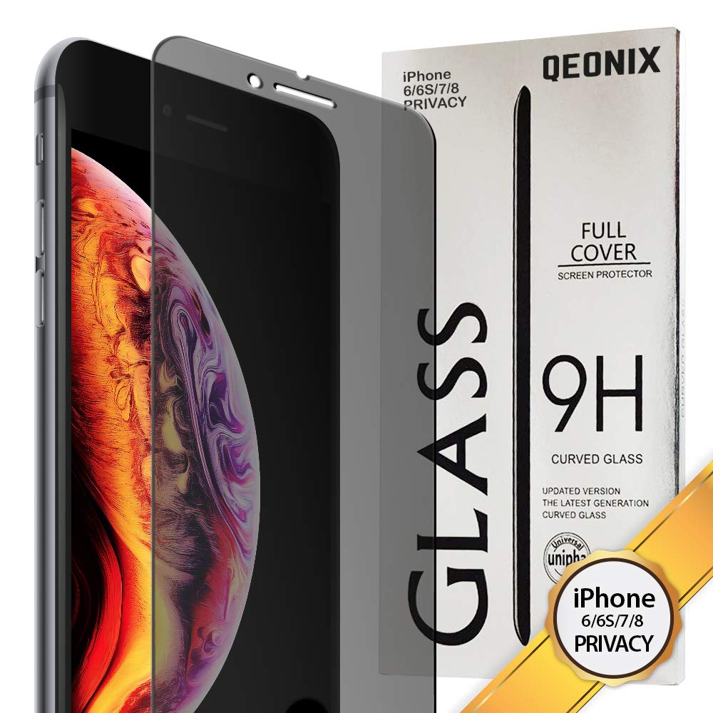 QEONIX iPhone 8 / 7 / 6S / 6 Privacy Screen Protector 4.7 inch, Premium Anti-Spy Real 9H Tempered 3D Glass / Case Friendly, Scratch Proof