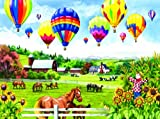 SUNSOUT INC Balloons Over Fields 500 pc Jigsaw Puzzle