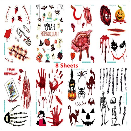 True Blood Costumes Bill (Layhome 8 Sheets Halloween Temporary Tattoos Party Prop Stickers Cos Play)