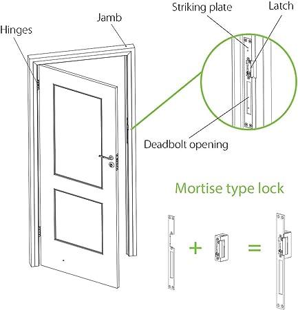 Cerradura eléctrica automática - 12V DC - ZKTeco 3013 - Abrepuertas eléctrico ajustable para puertas con mecanismo invertido - Disponible versión fija o ajustable.: Amazon.es: Bricolaje y herramientas
