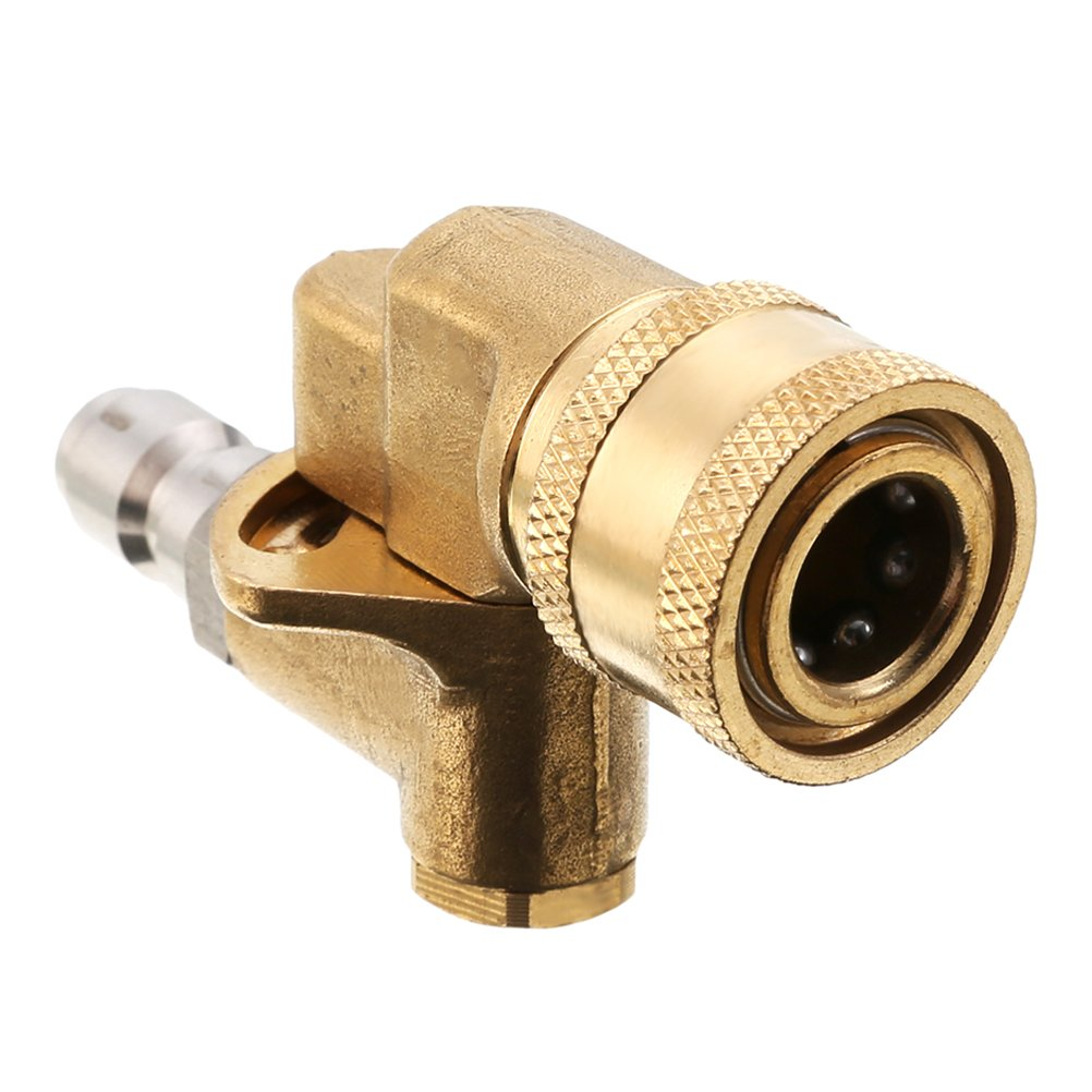 Cooyeah Quick Connecting Pivoting Coupler for Pressure Washer Nozzle, Cleaning Hard to Reach Areas,with 1/4 Inch,4500PIS,Rotation Angle of 90 Degree by QIUYE