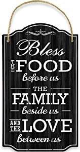 Bigtime Signs Bless Our Family Food Love - Heart Warming Quote - Strong PVC with Rope for Hanging - Country, Rustic House, Kitchen, Dining Wall Decor - Housewarming, Home Gifts - 8.5x14.5 Inch (Black)