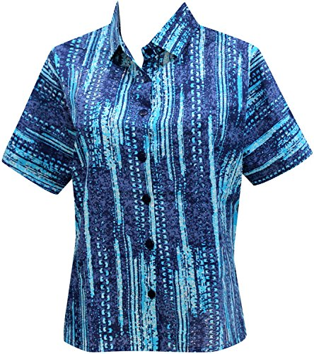 La Leela Cotton vacation short sleeves sales female outfits boho festival resort tank Women's Hawaiian Shirt S Blue Fathers Day Gifts Spring Summer 20…