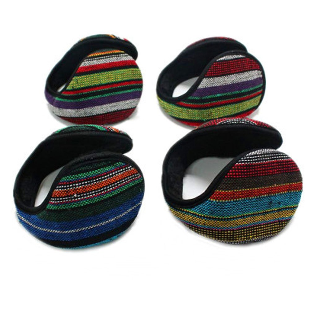 Neaer 5 Pcs With Velvet Ear Muffs Plaid Style Ear Warmers - Behind the Head Style Winter Earmuffs for Men and Women