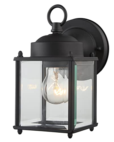 """Outdoor Wall Lantern Black Finished Steel Clear Glass Vintage Exterior Light Fixtures 4''(W) 8.25""""(H) Extends 5.9"""" Waterproof Outdoor Light for Garden,Porch"""