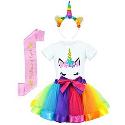 JiaDuo Girls Costume Rainbow Tutu Skirt with White Shirt, Headband & Satin Sash: Clothing