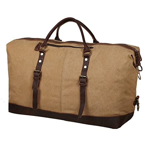 S-ZONE Oversized Canvas Leather Trim Travel Tote Duffel