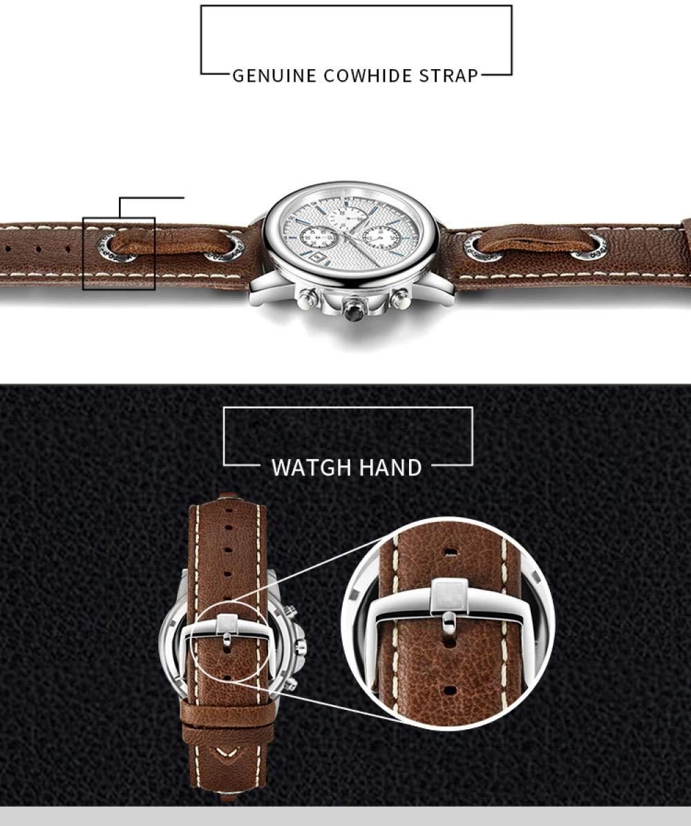 Herrklockor, 3-ögs 6-pin rostfritt stål speglad klocka Brown Belt