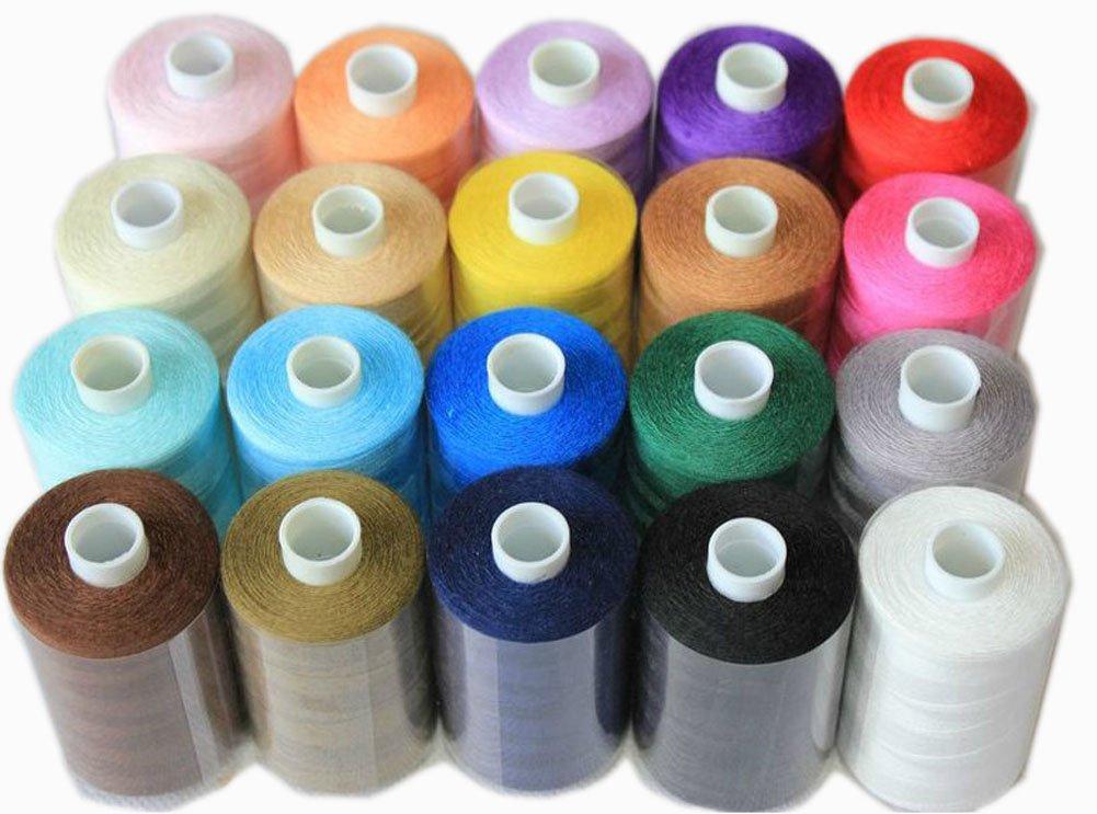 20 Verschiedene Spulen des Polyester-Nähgarn 1000 Yards pro Stück Spools H:6,2cm Blancho Bedding