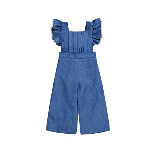 b9c71ef0b1e Mubineo Toddler Baby Girl Ruffle Sleeve Bell Bottom Demin Romper Jumpsuit  Jeans Pants (Blue