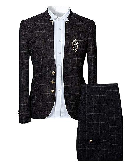 Trajes para Hombre Traje de Tweed de 2 Piezas Slim Fit Chaqueta a Cuadros Vintage Chaqueta de Traje Formal de Negocios Pantalones